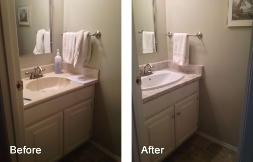 Before and after bathroom vanity transformation
