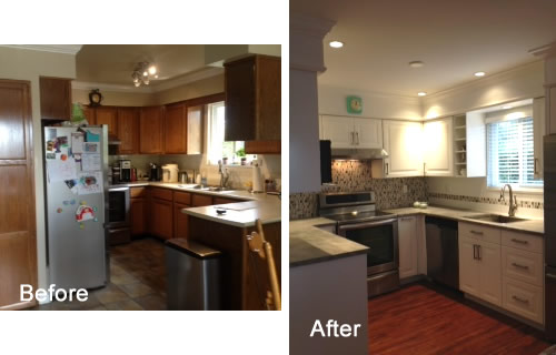 Before and after a kitchen renovation project