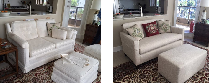 Sian Loveseat and Ottoman before and after