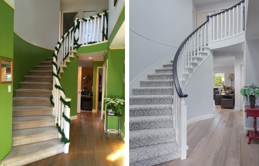 before and after painted staircase