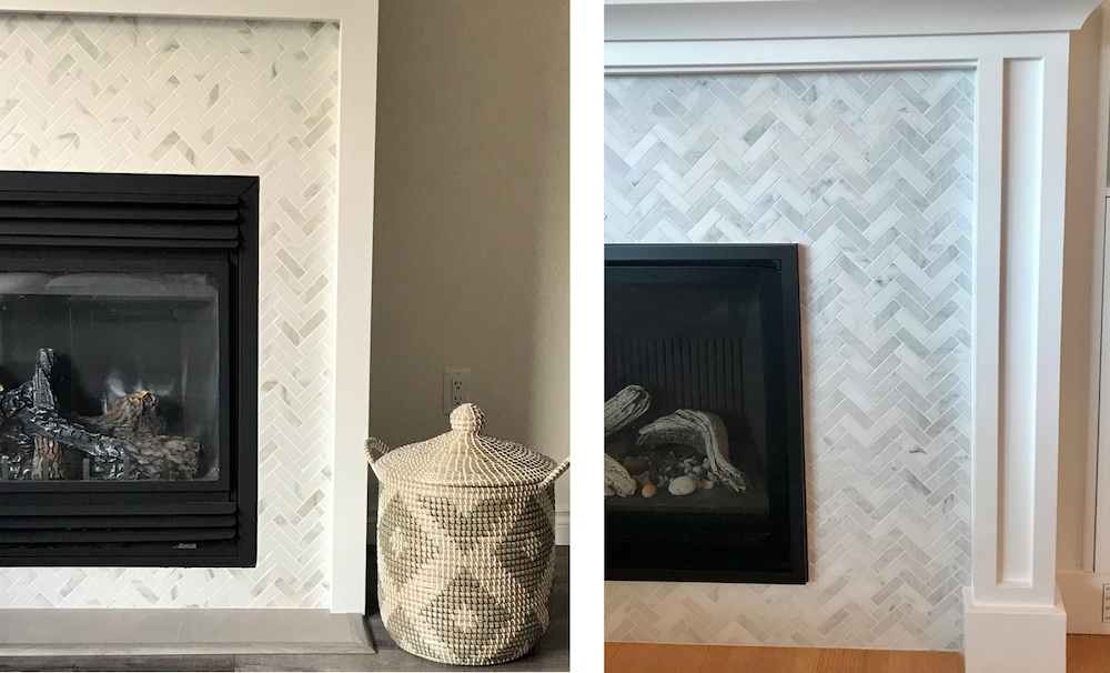 fireplace front tile pattern