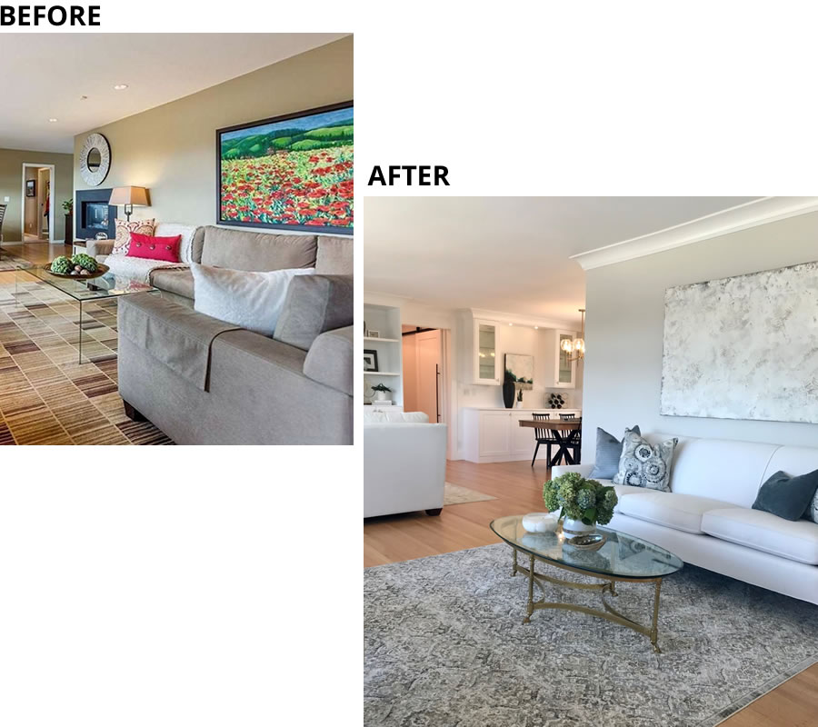 Creating More Space Ruskin Living Room Before and After
