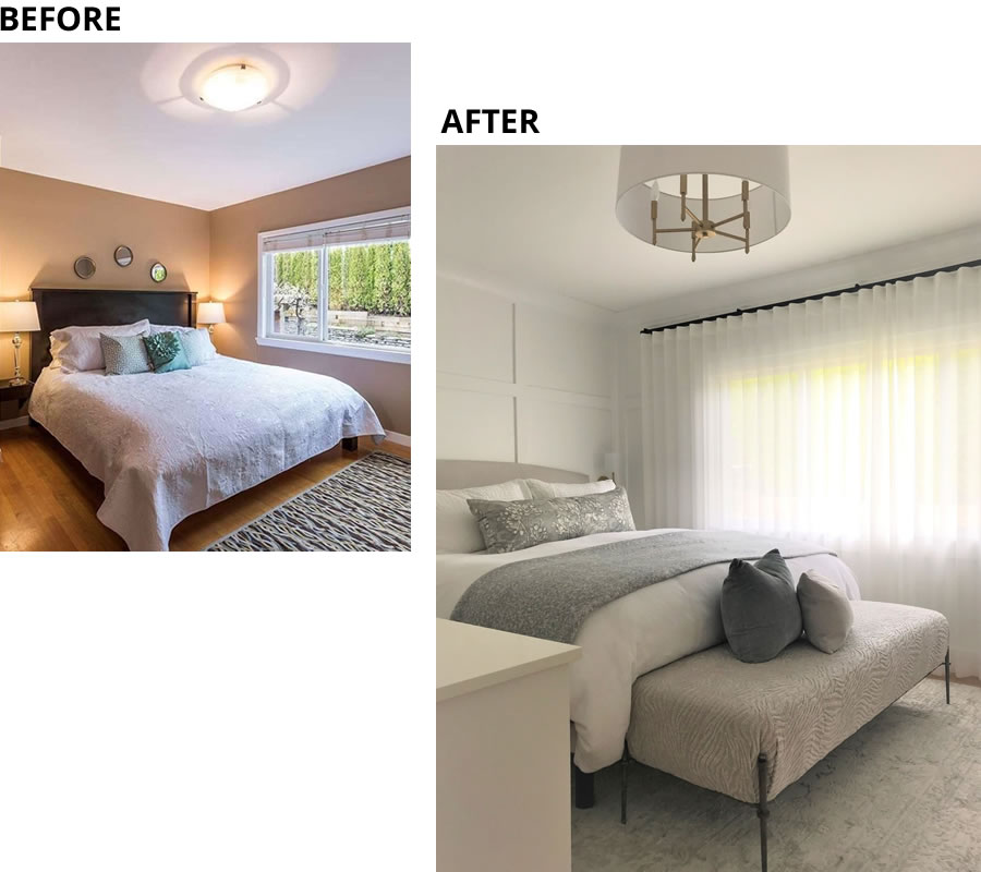 Visual Interest in Ruskin Master Bedroom Before and After